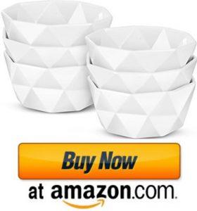 Delling Geometric 8 Oz Porcelain Ramekins/Dessert Bowls for ice cream